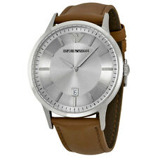 Emporio Armani Classic Silver Dial Brown Leather Strap Mens Watch AR2463