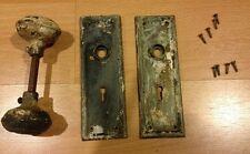 Vintage Doorknob Set With Back Plates, Metal, Antique Restoration
