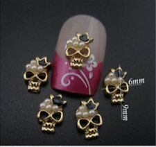 4 x Small Gold Alloy & Faux Pearl Nail Art Skull Charm Decoration (F1)
