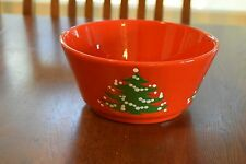 """Vintage Waechtersbach 9"""" Serving Bowl Red Christmas Tree Holiday West Germany"""