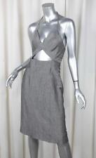 NARCISO RODRIGUEZ Womens Gray Wool+Linen Sleeveless Cutout Sheath Dress XS