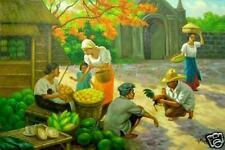 Sunday Morning Amorsolo Art Philippines Oil Painting NR