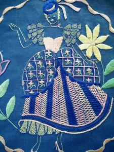 Unique Crinoline Lady & Flowers  Vintage Hand Embroidered Panel