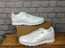 REEBOK UK 5 1/2  EU 38 WHITE PATENT LEATHER CLASSIC TRAINERS MENS BOYS CHILDRENS