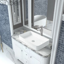 "Sinber 24""x14"" Rectangle Ceramic Bathroom Vanity Vessel Sink Above Counter Basin"