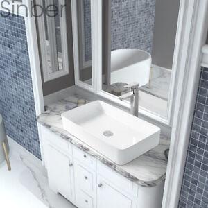 "Sinber 24""x14"" Rectangle Ceramic Bathroom Vanity Vessel Sink Above Counter Basin"