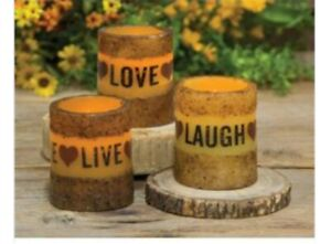 Live Laugh Love Pillar ~ Grungy Look Candle