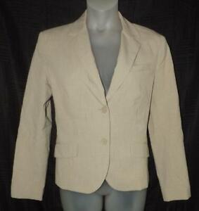 NEW YORK & CO Light Brown Tan XL / 16 Church Office Lined Blazer Suit Jacket