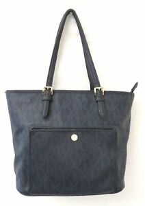 Michael Kors Signature Navy Blue Coated Canvas Tote Bag Carryall Purse