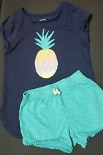 Jumping Beans Girls Softest Tee w/ Pineapple and Shorts Outfit Size 7