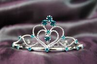 Bridal Wedding Party Tiara Crown with Oceanblue Crystal