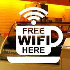 2 x FREE WIFI HERE VINYL SHOP WINDOW STICKERS DECALS 150mm x 150mm - 16 COLOURS