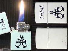 Briquet essence @@ Tempête Laque blanc et Noir @@ Petrol lighter Feuerzug