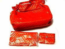 Gorgeous Red Quilted PU Faux Leather Purse/Shoulder Bag w/ wallet & Coin Pouch