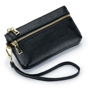 New Women's Genuine Leather Coin Purse Clutch Wallet With Wristband Holder bag