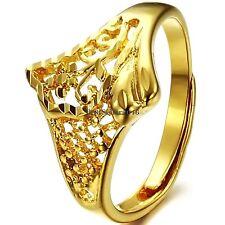 Yellow Gold Tone Ladies Promise Ring Engagement Wedding Band Adjustable Size