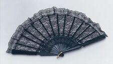 BLACK LACE SPANISH VICTORIAN GOTHIC HAND FAN FANCY DRESS ACCESSORY