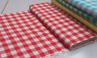 "1"" CHECK RED/WHITE GINGHAM 100% COTTON FABRIC : SELLING BY THE 1/2 METRE"