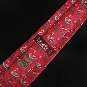 Hermes 7285 MA 100% Authentic Silk Tie Swans Made in France Red MINT
