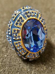 AKKAD DESIGNER Blue Topaz, Aquamarine Crystal Enamel Oval Ring Size 9 Pre-owned