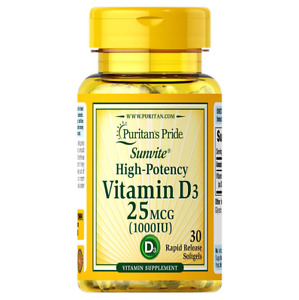 Puritan's Pride High Potency Vitamin D3 25 MCG 1000IU 30 Rapid Release Softgels