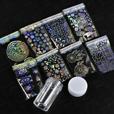 8Roll Holographic Triangle Nail Art Transfer Stickers Foil Starry Laser Manicure