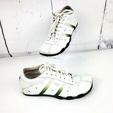 Diesel Evelyn Womens White and Green Stripes Leather Athletic Shoes US Size 7