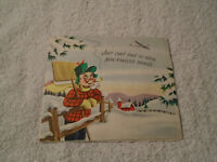 Vintage 1950s Christmas Santa Reindeer pop-up card used rare