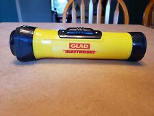 VINTAGE Eveready Yellow Plastic Flashlight with GLAD Heavyweight branding USA