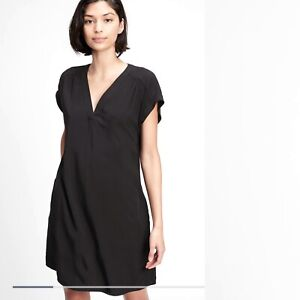 New Gap V Neck Shift Dress Black XL Popover Pockets Mini Women's