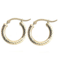 "14k Real Yellow 100% Gold Hollow Diamond Cut Round Hoop Loop Earrings .82"" 20mm"