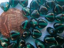 32 grams TEAL 6 mm little hearts spacer Czech pressed glass beads