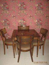 Oxford Danish Modern Table & 4 Upholstered Chairs Bonelle Mushroom Naugahyde