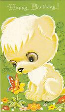 Vintage Happy Birthday 1970's Greeting Card Big Eyed Cute Bear & Butterfly