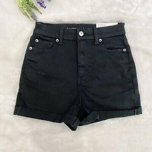 American Eagle Curvy Super Hi-Rise Shortie Shorts NEW Size 0 Black Denim $45