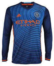 adidas MLS Men's New York City FC Authentic Long Sleeve Jersey, Blue