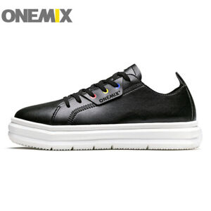 ONEMIX Men Leather Casual Walking Shoes Women Height Increase Shoes