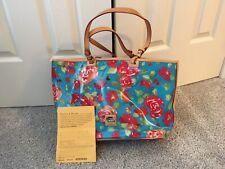DOONEY & BOURKE Aqua Floral Print Leisure Shopper Tote Bag