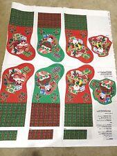"Calico Christmas Stockings Fabric Panel -1993 Fabric Country- Plaid 14""-Makes 3"