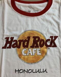 Hard Rock Cafe HONOLULU 2019 Womens Heritage HRC LOGO Ringer Tee Shirt White NWT