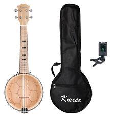Kmise Banjo Lele Ukulele Ukelele W/Bag Tuner Concert 4 String 23 Inch Maple