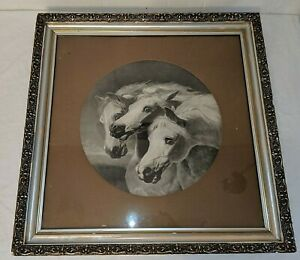 "Pharoah's Horses Arabian Herring Art Print Framed Antique 23"" x 23"""