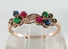 LUSH 9CT 9K ROSE GOLD SAPPHIRE RUBY EMERALD DIAMOND ETERNITY ART DECO INS RING 2