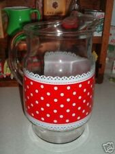 Fire King Anchor Hocking Glass RED WHITE POLKA DOT & Lace 64 oz Beverage Pitcher