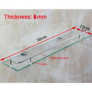 Single Square Glass Shelf Vanity Stainless Bathroom Kitchen Shower Storage Ho