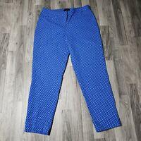 Talbots Womens Size 10 Hampshire Curvy Blue White Polka Dot Pants