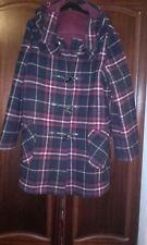 Original Montgomery Navy/Dark Red Check Hooded Long Duffle Coat size 16-18 nwot