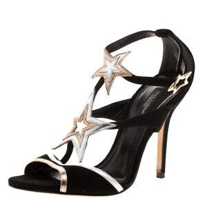 Dolce&Gabbana Black Suede Star Strappy Heels 36 6