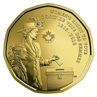Canada 1 Dollar $1 Coin Loonie, Women's Right to Vote, 100th Anniversary, 2016