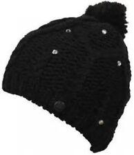 NWT WOMENS ROXY SNOW BLACK FLEECE LINED POM CABLE KNIT BEANIE WINTER HAT NEW .